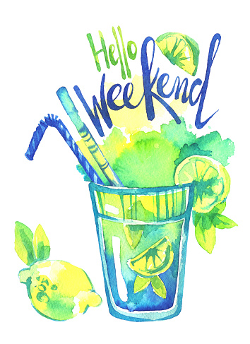 Watercolor mojito cocktail, Words Hello Weekend. Summer hand painted illustration. Party, drinks