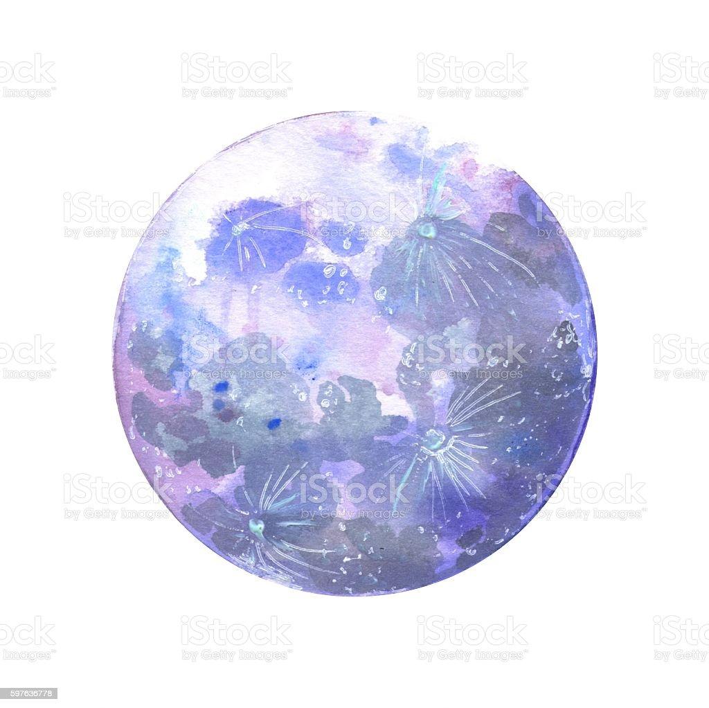 Watercolor Moon Stock Vector Art & More Images of Art ...
