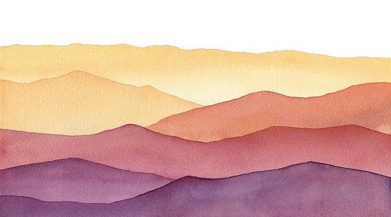 watercolor mountain shapes, hand painted background with hues of yellow gold and purple waves