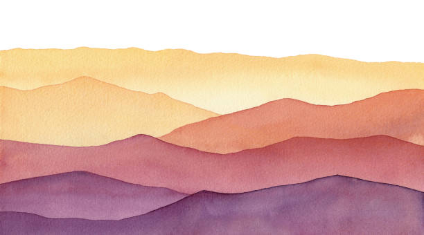 ilustrações, clipart, desenhos animados e ícones de formas de montanha aquarela, fundo pintado à mão com tons de ouro amarelo e ondas roxas - harmonia