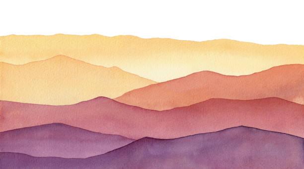 ilustrações de stock, clip art, desenhos animados e ícones de watercolor mountain shapes, hand painted background with hues of yellow gold and purple waves - tranquilidade