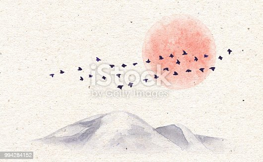 Watercolor painting. Hand drawn illustration with mountains, red moon and flying birds on old paper texture background. Vintage card with nature scene.