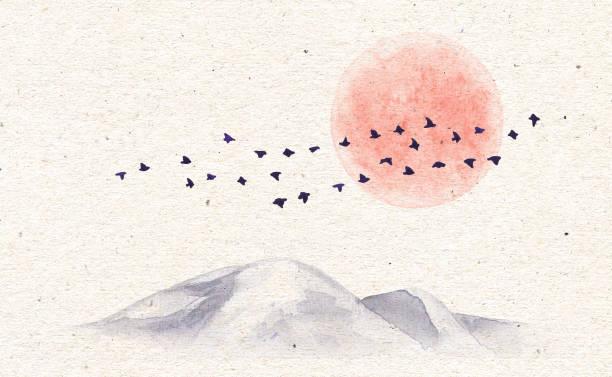 bildbanksillustrationer, clip art samt tecknat material och ikoner med akvarell-bergen, fåglar och månen - pink sunrise