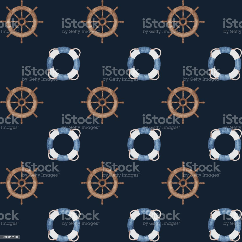 watercolor nautical navy blue pattern vector art illustration