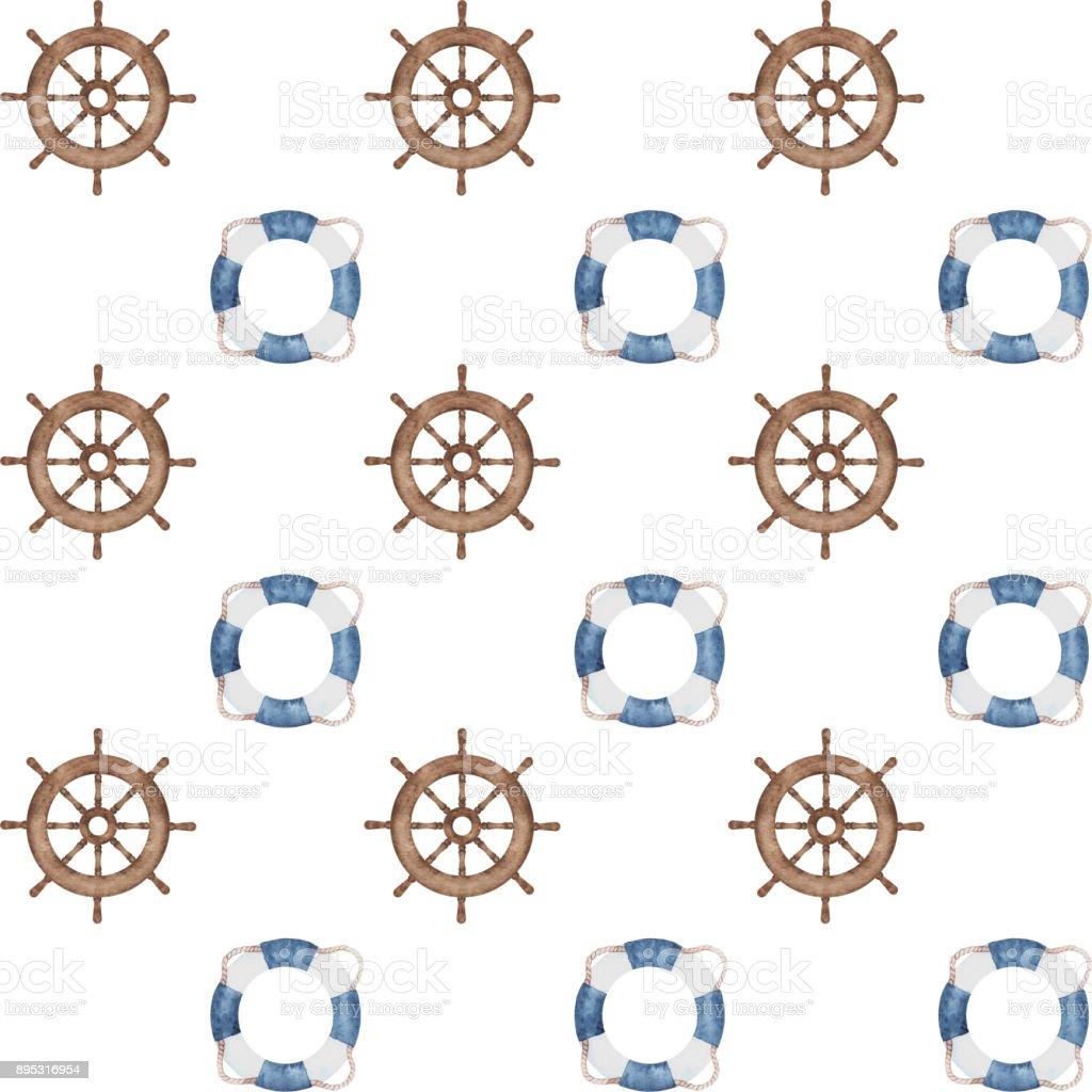 watercolor nautical pattern vector art illustration