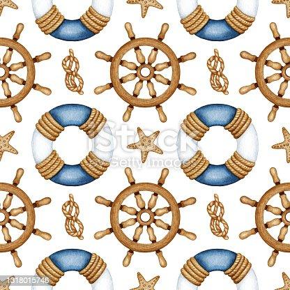 Watercolor Nautical Vessel Equipment, Traveling, Sea Life marine seamless pattern. Ship Navigation. Lifebuoy, Steering wheel, Rope Knot, Starfish. Hand drawn maritime background for kid print design