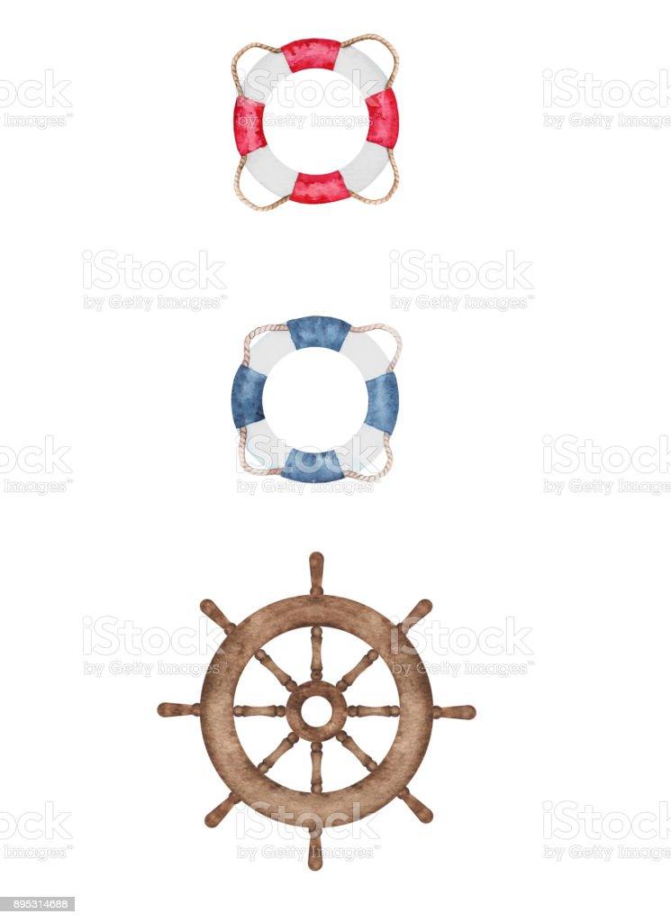 Watercolor nautical wheel and lifebuoys vector art illustration