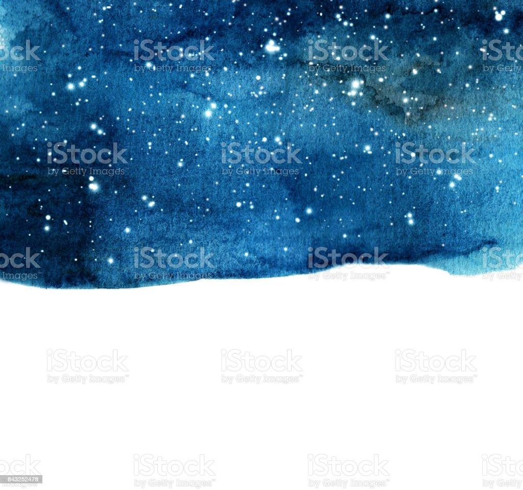 水彩夜空の背景の星。テキストのためのスペースを持つ宇宙のレイアウト。 ベクターアートイラスト