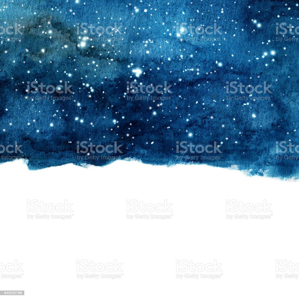 Watercolor night sky background with stars. cosmic layout with space for text. vector art illustration