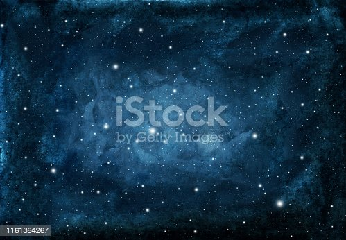 istock Watercolor night sky background with stars. 1161364267