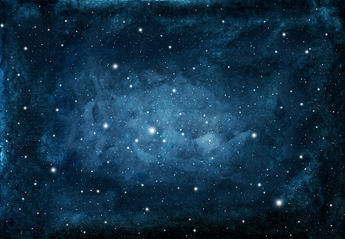 Watercolor night sky background with stars.