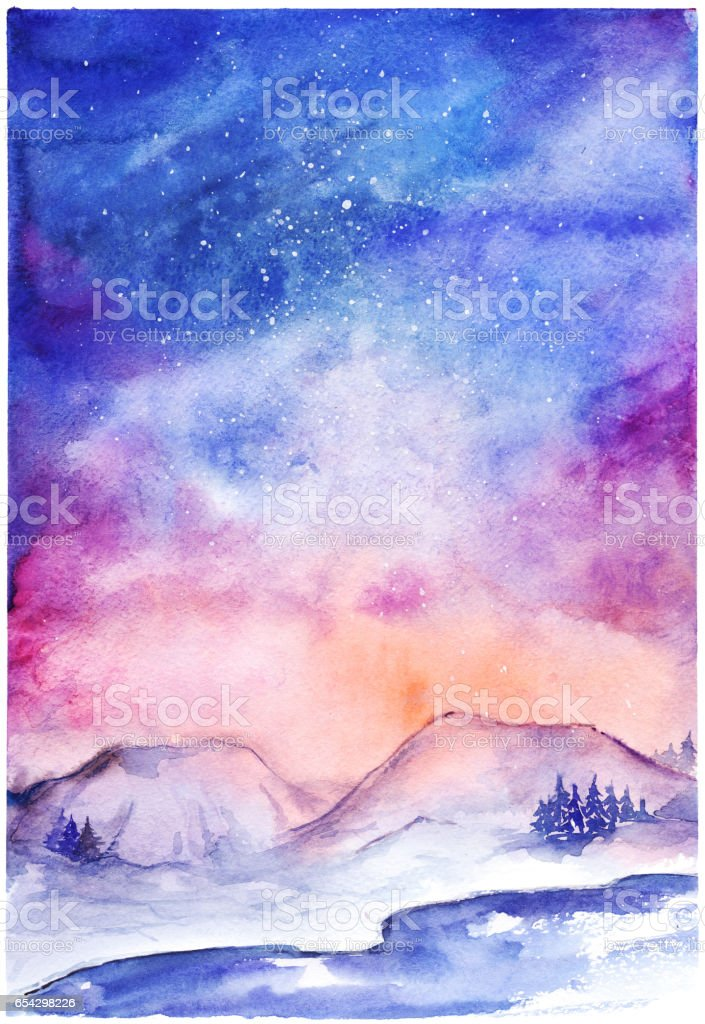 Watercolor nothern lights nature winter space landscape vector art illustration