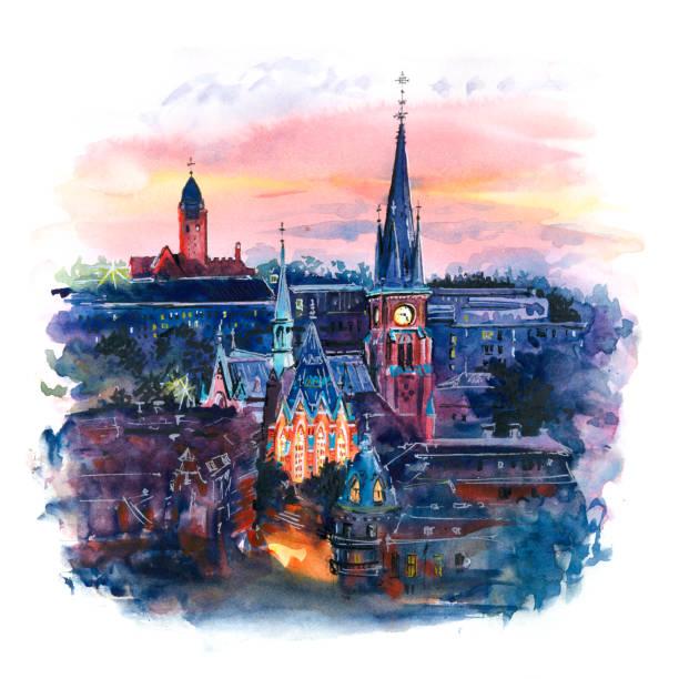 bildbanksillustrationer, clip art samt tecknat material och ikoner med akvarell av göteborg, sverige - stockholm overview