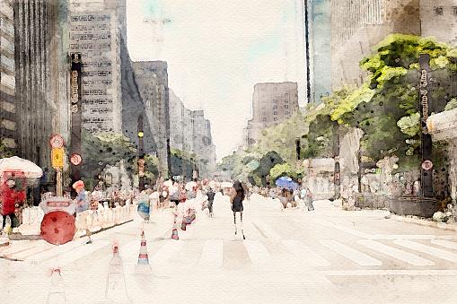 Watercolor of Paulista avenue in Sao Paulo, Brazil. Beautiful digital art of famous place in the city.