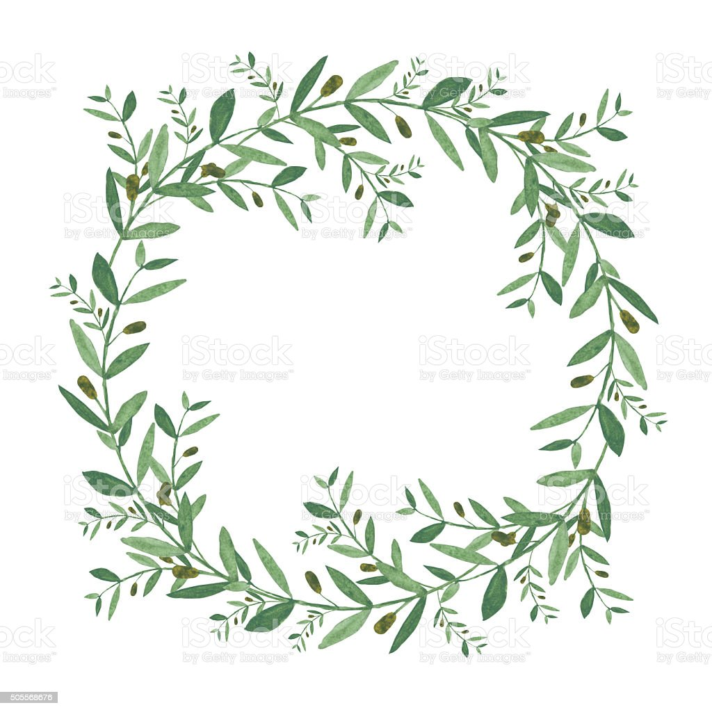 Watercolor olive wreath. vector art illustration