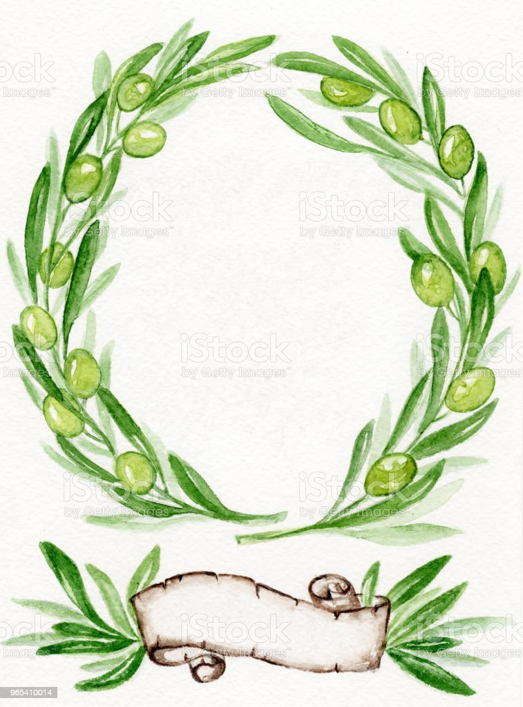Watercolor olive wreath with a paper scroll. royalty-free watercolor olive wreath with a paper scroll stock illustration - download image now