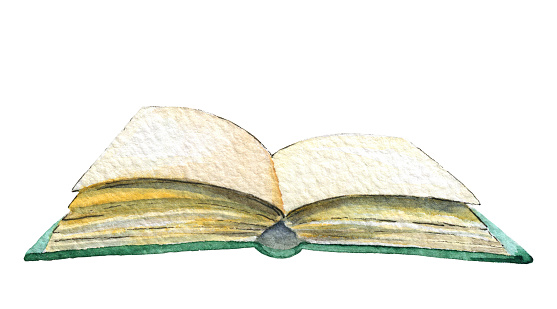 Watercolor open book