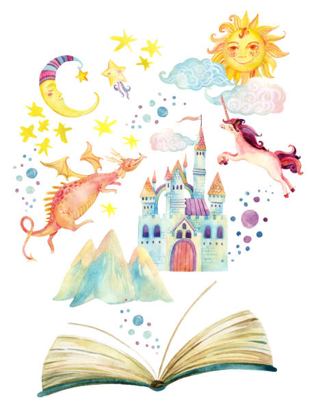 Watercolor open book with magic world isolated on white background Watercolor open book with magic world isolated on white background. The whole fairy tale in book: stars, moon, sun, magic castle, dragon, unicorn. Hand painted book illustration for childish design fairy tale stock illustrations