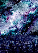 Watercolor Illustration with Milky Way And Dark Forest