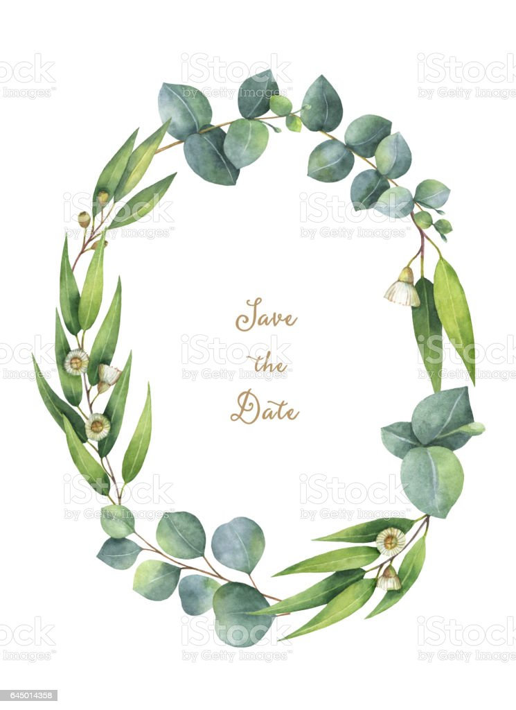 watercolor oval wreath with green eucalyptus leaves and branches illustration id645014358