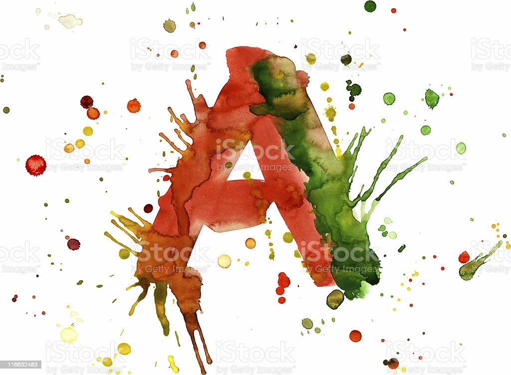 Watercolor paint - letter A royalty-free stock vector art