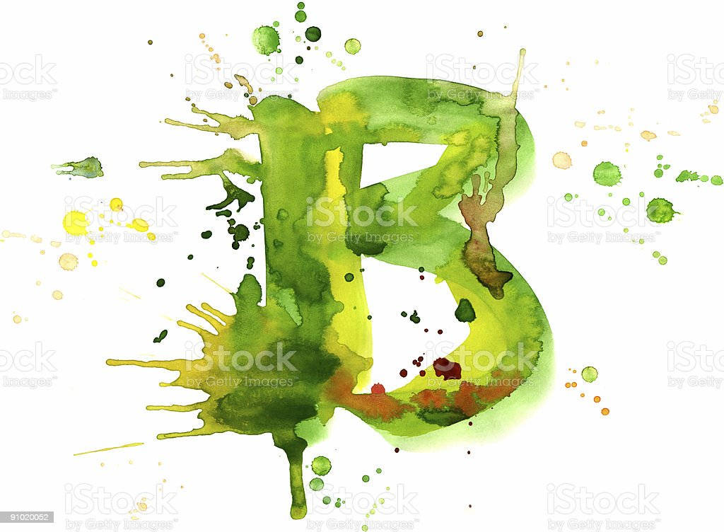 Watercolor paint - letter B royalty-free watercolor paint letter b stock vector art & more images of abstract
