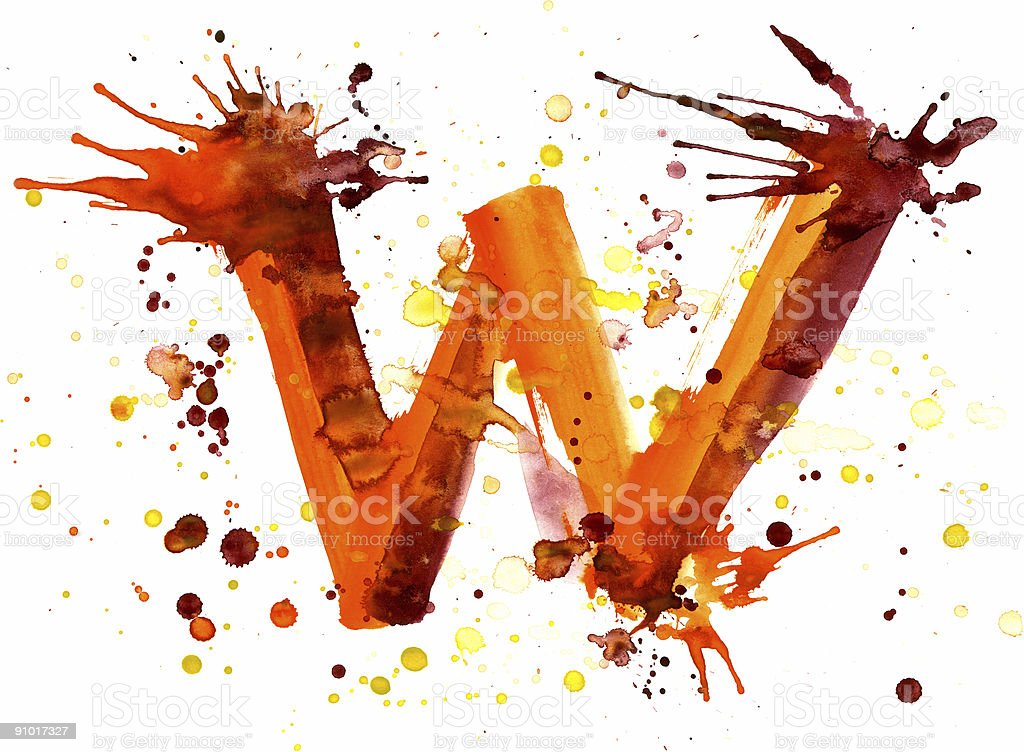 Watercolor paint - letter W royalty-free stock vector art