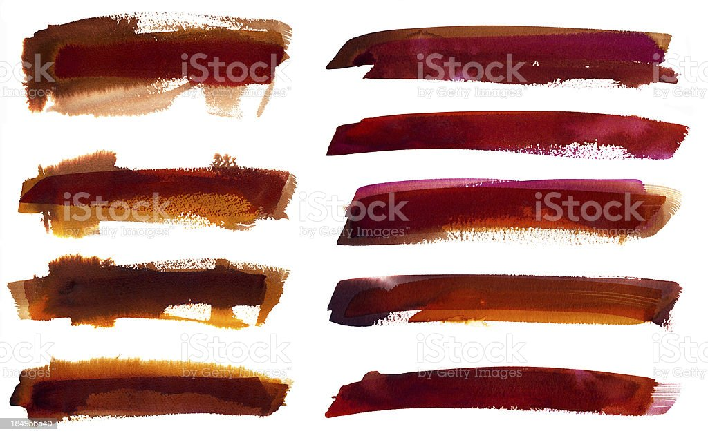 Watercolor paint strokes vector art illustration