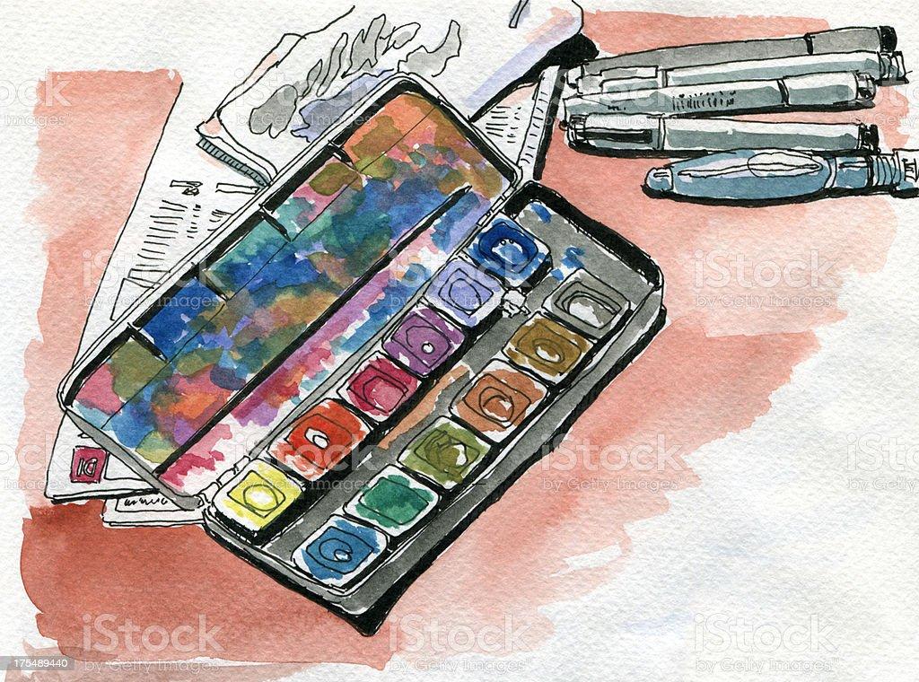 Watercolor Paintbox Aquarell Drawing vector art illustration