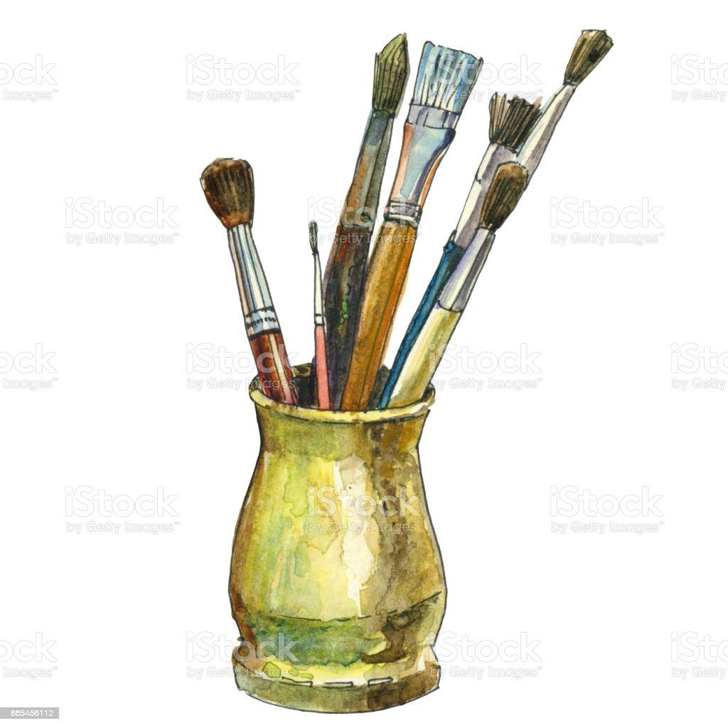 Pincel Acuarela Dibujo Y Pintura Herramientas Ilustraci N De  ~ Herramientas Pintor Profesional