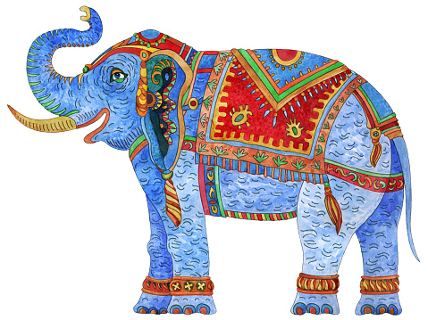 Watercolor painted fantasy ornate Indian elephant isolated on a white background. Colorful thin line, ethnic ornaments on bright harness. T-shirt print. Batik paint, circus show invitation card