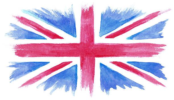 水彩ペインティッドの英国国旗 - ユニオンジャックの国旗点のイラスト素材/クリップアート素材/マンガ素材/アイコン素材
