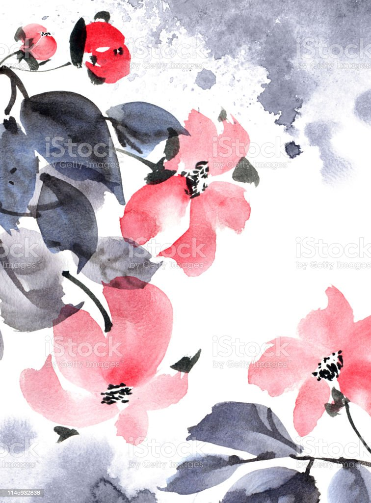 Watercolor and ink painted flowers with leaves in style sumi-e,...