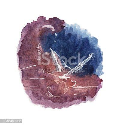 istock Watercolor Painted Guitar Player - Original Watercolor Painting 1282352922