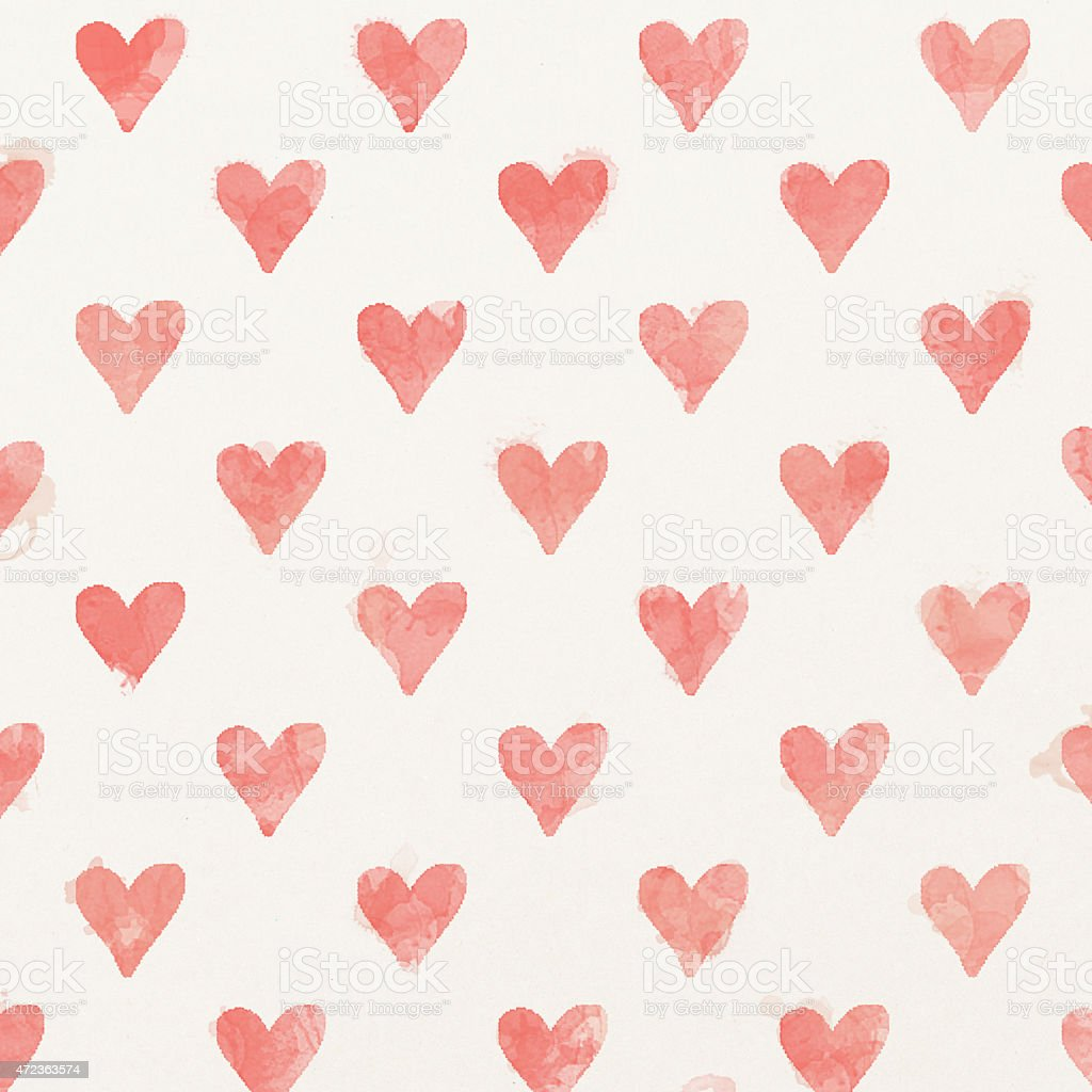 Watercolor painted heart background vector art illustration