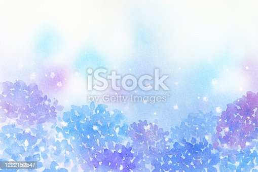 istock Watercolor painted hydrangea background. 1222152547