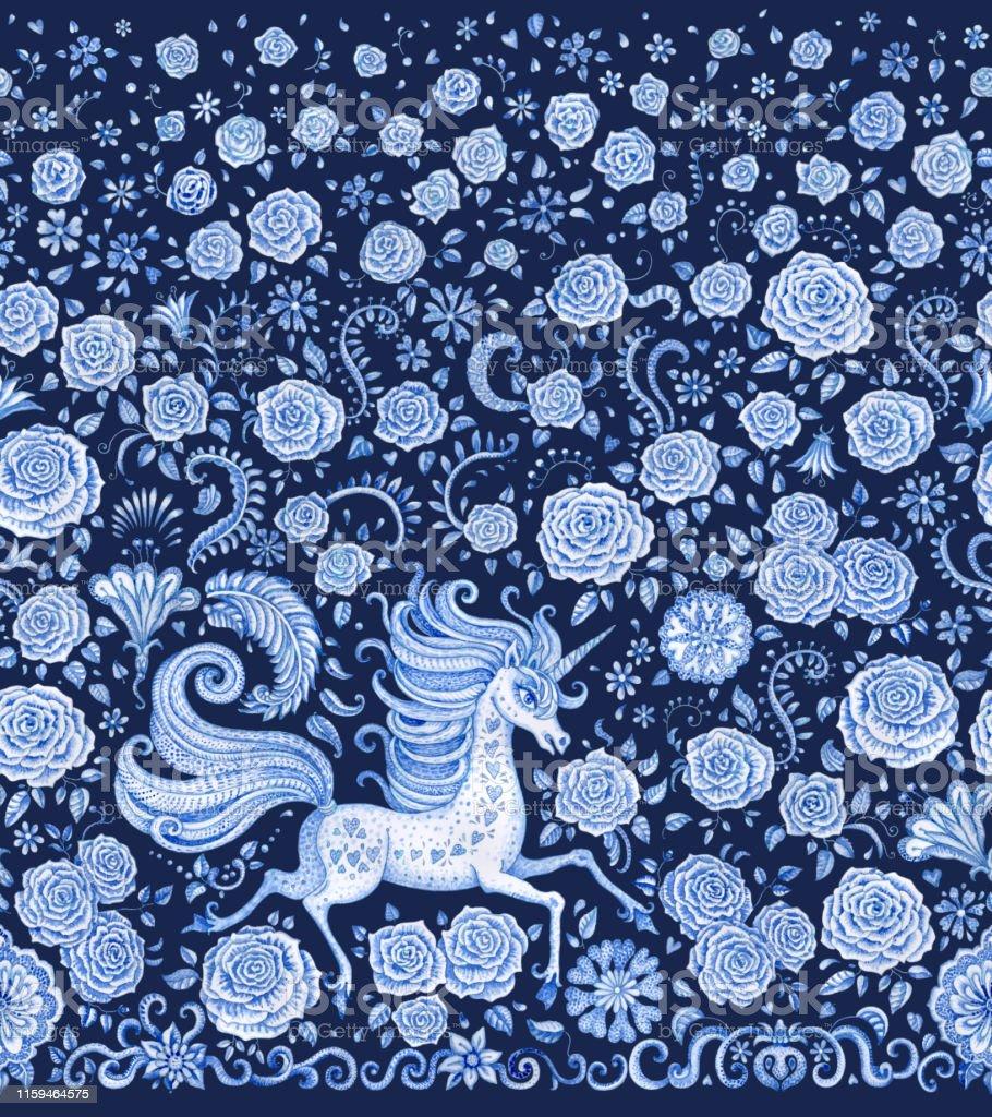 Aquarelle Peinte Bordure Transparente Imprime Licorne Sur