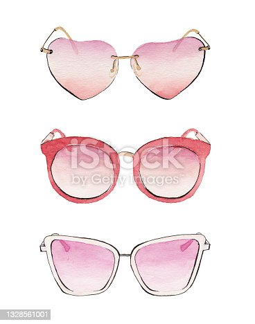 Watercolor painted sunglasses Isolated on White Background