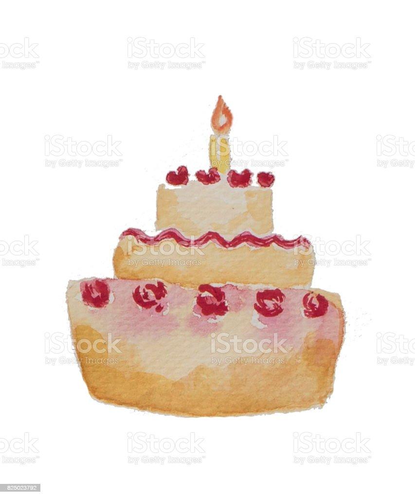 Suluboya Resim Doğum Günü Pastası Krem Gül Tepesi Ve Tek Bir Mum Ile