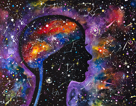 Watercolor painting cosmic woman. Galaxy. Stars.