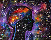 Power of human mind. Psyche. The Milky Way.