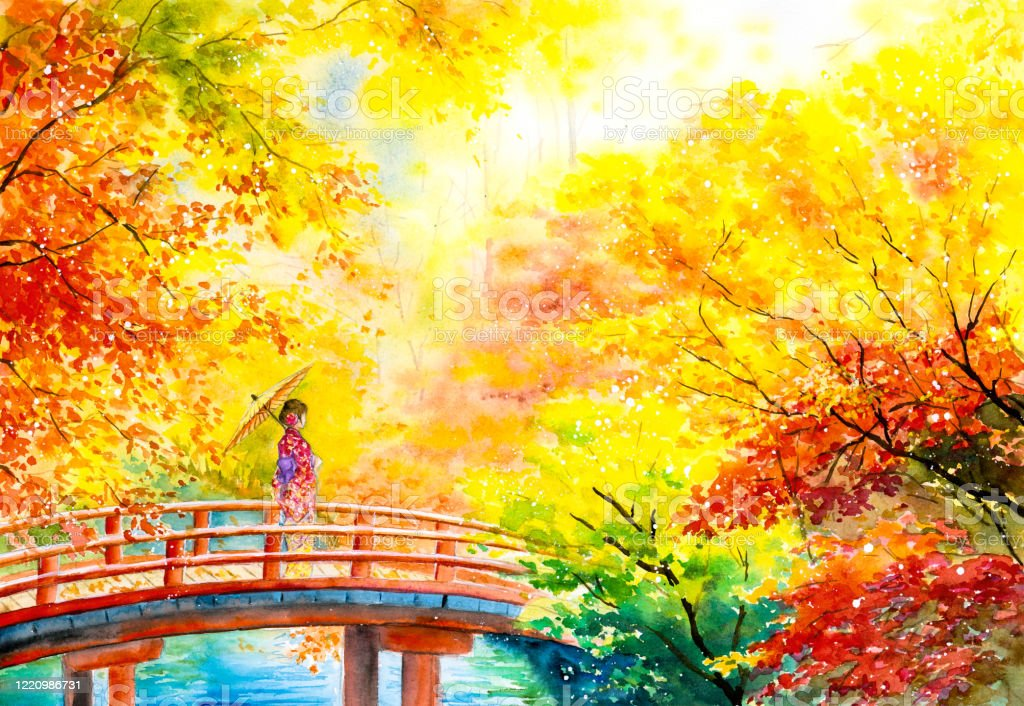 Watercolor Painting Geisha With Maple Trees In Autumn Kyoto Japan Stock Illustration Download Image Now Istock