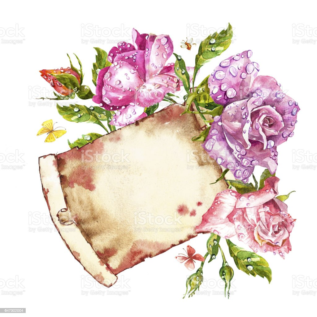 Watercolor painting greeting cards rose background watercolor watercolor painting greeting cards rose background watercolor composition flower backdrop isolated illustration kristyandbryce Gallery