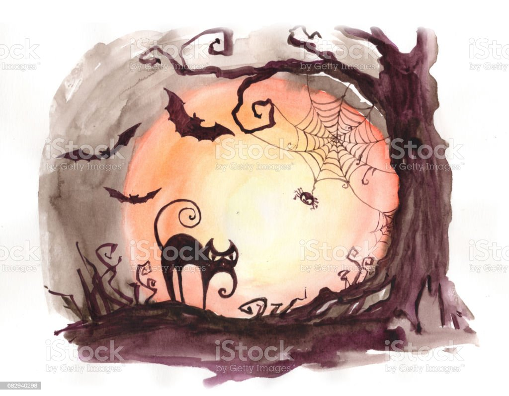 Watercolor painting Halloween scary tree cat and bats concept. Collection of hand made water color art paintings. royalty-free watercolor painting halloween scary tree cat and bats concept collection of hand made water color art paintings stock vector art & more images of art