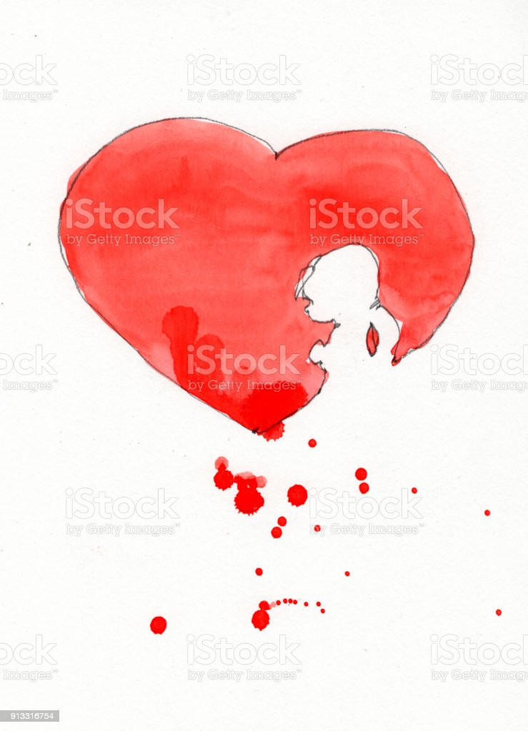 Watercolor Painting Illustration Set Of Girl In Red Heart Hand ...
