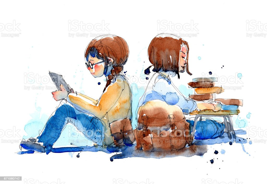 watercolor painting illustration set of girl with e-reader and her friend with books pile, traditional artwork scanned vector art illustration