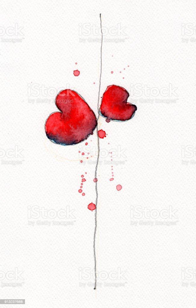 Elle Kağıt üzerine çizilmiş Tek Satırda Iki Suluboya Kalp Suluboya