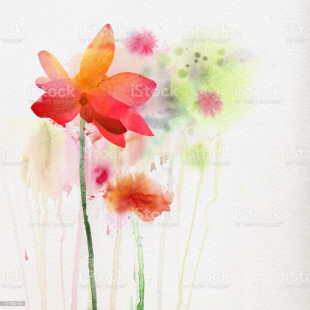 Watercolor painting, natural background vector art illustration