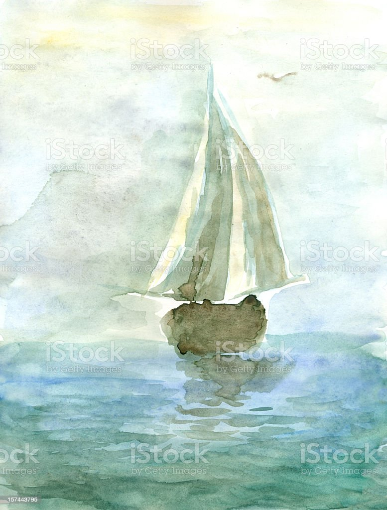 Watercolor painting of a yacht at sea royalty-free stock vector art