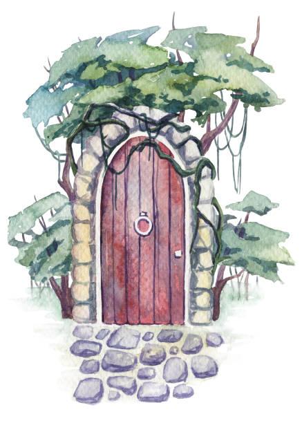 ilustrações de stock, clip art, desenhos animados e ícones de watercolor painting of abandoned door in the woods. concept illustration - ivy building
